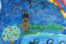 """O projeto se desenvolveu a partir da leitura de histórias de matriz africana e da apreciação do filme """"Ewá e o arco íris"""", onde as crianças pintaram em suas telas personagens e cores que mais se identificaram."""
