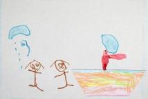 """Os desenhos traduzem as ideias das crianças sobre a estação do inverno inspirada pela leitura do livro """"A Chuva""""."""