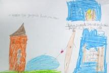 As crianças construíram narrativas sobre o que viveram ou sonharam no fim de semana: Histórias reais e histórias imaginárias ganham desenhos e pequenos textos.