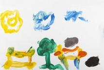 As crianças vivenciaram coletivamente um dia de arte livre e criaram seus desenhos de pintura a dedo, experimentando cores e formas para expressar seus sentimentos e ideias.