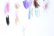 A escuta das histórias Obax, de André Neves e O ogro Barba-ruiva, de Beatrice Garel e Muzo inspirou as crianças a criar releituras das histórias com seus próprios desenhos.