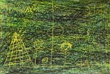 TEXTURA é composta por 15 desenhos que representam brincadeiras e jogos do universo infantil e foram criados utilizando lápis de cera para produzir textura com cores variadas e o risco dos desenhos em baixo relevo.