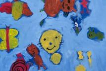 """Penteado Despenteado é produto da oficina de pintura com crianças realizada pelo artista plástico mineiro Anderson Augusto, ilustrador do livro que inspirou a exposição: """"Penteado Despenteado"""", de Joana Mendes, que conta a história real da menina Aurora."""
